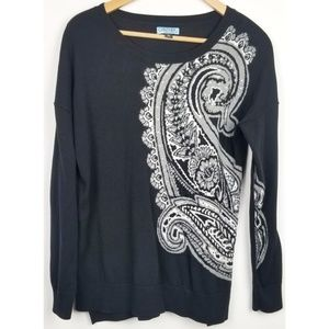 Cynthia Rowley large black paisley sweater